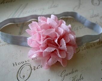 Gray and Pink Eyelet Flower Headband