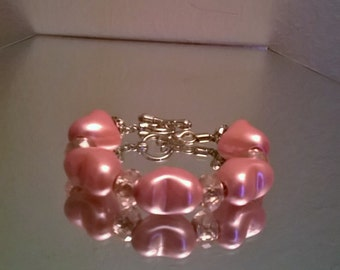 Thick pink pearl heart charm bracelet
