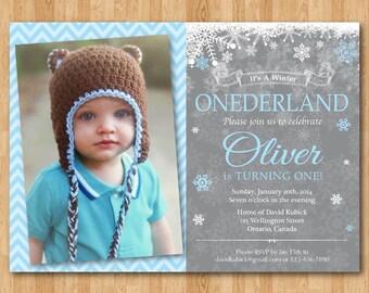 Winter Onederland Birthday Invitation. Boy or Girl Birthday. Snowflake bday. Blue or Pink. 1st first bday. Custom photo. Printable digital