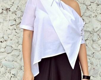 Extravagant White Top, Asymmetrical White Top, Deconstructed White Blouse, Elegant Summer Blouse TT83 by TEYXO