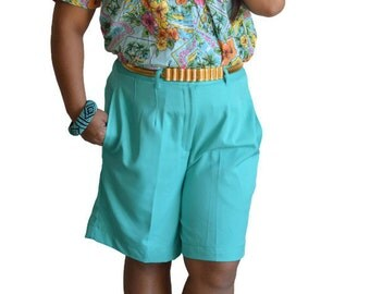 90's Vintage High Waisted Shorts Teal Polyester Sz 10