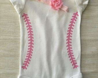 Girls Baseball Outfit with Pink Stitches  and Headband Personalized
