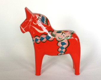 "Beautiful red hand painted ""dala horse"" made in Sweden vintage 1960."