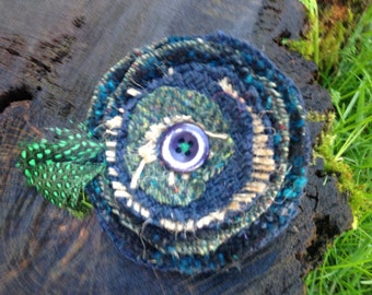 Earthy Recycled Fabric Flower Fascinator Brooch with Feathers and Hessian
