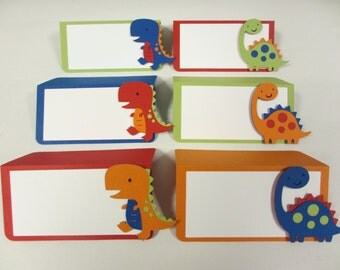 Dinosaur Food Buffet Tents / Place Cards Green Blue Red Orange Birthday Party Shower Set of 6