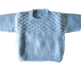 Knit Baby Sweater, Pullover Size 3 Months, Knitted Blue Baby Sweater, Baby Girl Sweater or Boy Sweater