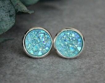 Mint Stud Earrings, Mint Earrings, Mint Druzy Earrings, Mint Green Earrings, Mint Green Studs, Mint Druzy Studs, Mint Post Earrings 10MM
