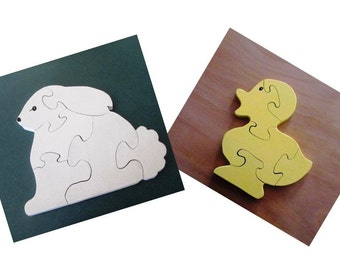 Bunny and Duck Puzzle Set