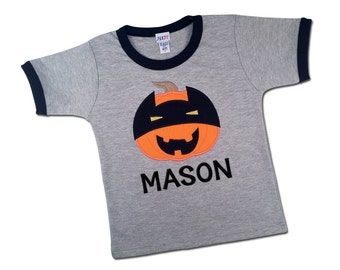 Boy's Halloween Shirt with Super Pumpkin and Embroidered Name