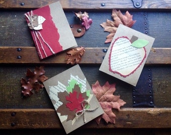 Pack of three handmade autumn cards