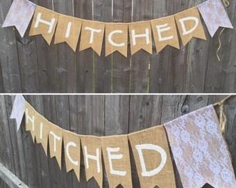 Hitched Wedding Burlap Banner
