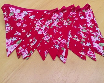 Red shabby chic bunting