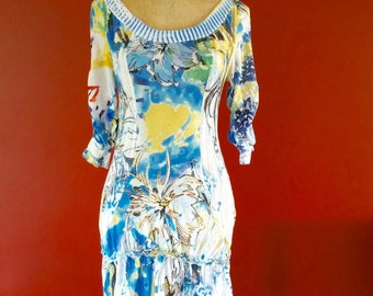 1990s Knitted Dress, With Face/Cameo Print Detail