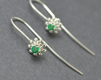 Silver Filigree Earrings, Green Crystal Earrings, Crystal Hoops, Sterling Silver Hoops, Handmade Silver Hoops