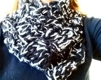 Knitted Scarf, Merino knitted scarf, Alpaca/Cotton/Merino knitted scarf, black scarf, grey scarf, black knitted scarf, black and grey 078