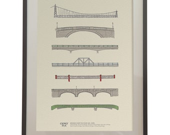 Bridges over the River Lee, Cork. Designed and Made in Ireland, Stylish and Graphic, The Perfect Gift