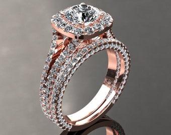 18k Rose Gold Ring Moissanite & Diamond Engagement Ring 1ct Round Forever One 1.70ctw Round Natural Diamonds Band Pristine Custom Rings