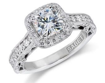 Moissanite Engagement Ring 1.30ct Cushion Cut Forever One Ring .65ct Natural Diamonds Unique Halo Ring 18k white gold Pristine Custom Rings