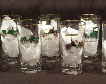 Vintage Car Hi-Ball glasses - Set of 8 glasses