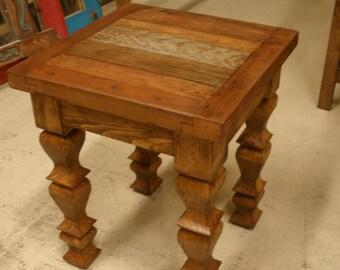 Reclaimed Wood Rustic End Table-18 x 18 x 22 in-Western-Vintage Look-Rustic-Repurposed