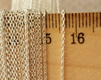 1mm Oval chain links ,Silver  plated  Brass  cut edge Oval chain , Fine Oval Soldered Chain.