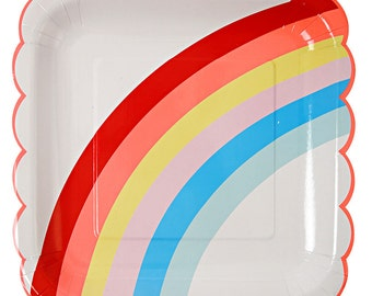 Rainbow Paper Plates (Set of 12) Meri Meri Large Plates, Rainbow Birthday Party Decor, Rainbow Party Supplies, Rainbows and Unicorns Party