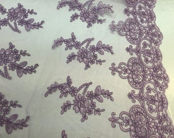 Lavender jasmine flower design embroider and corded on a mesh lace -yard