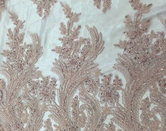 Blush peach charming flower design embroider and beaded on a designed mesh lace-yard