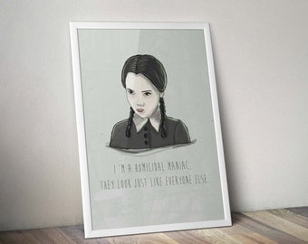 Wednesday Addams A3 artwork - framed or unframed options available