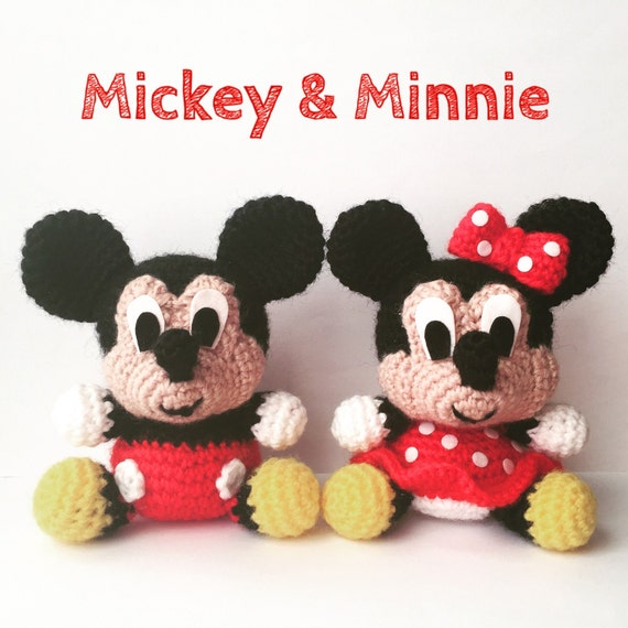 Baby Mickey Amigurumi Pattern : Pack 2 in 1 Mickey Mouse and Minnie Mouse Disney by ...