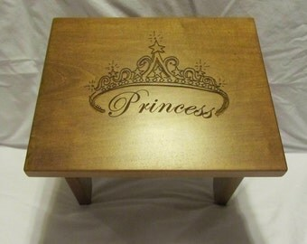Custom Engraved Wooden Toddler Step Stool- Princess
