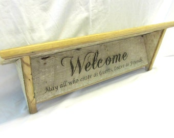 Vintage Reclaimed Barnwood Shelf - Welcome