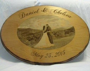 Wedding Guest Book Alternative Custom Wood Sign with Engraved Photo