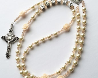 Personalized Name Rosary- Swarovski Cream Pearls and Pale Peach Crystals- Roses