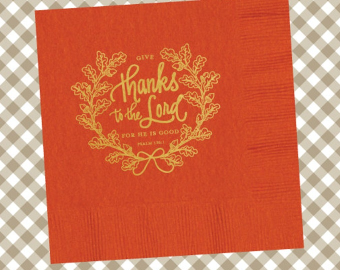 Thanksgiving Napkins (Qty 25) - Give Thanks to the Lord (pumpkin)