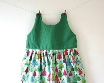 Christmas tree dress, Christmas dress, Christmas print, Christmas gift, fesitve dress, holiday dress, baby dress, toddler dress, girls dress