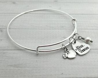 Hand Stamped teacher gift, teacher's bangle, personalized cuff, monogrammed bangle, custom bracelet,  personalized bracelet