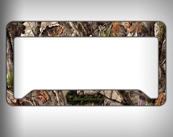 wooded camo custom graphics licence plate frame holder personalized car accessories custom gifts personalized gift