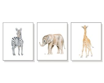 Nursery Art Prints Safari Nursery Print Baby Animal Print Jungle Nursery Decor Child Room Print Baby Elephant Zebra Giraffe Set of 3 Prints.
