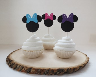 Set of 12 - Minnie Mouse Hot Pink, Purple, and Aqua Blue Cupcake Toppers