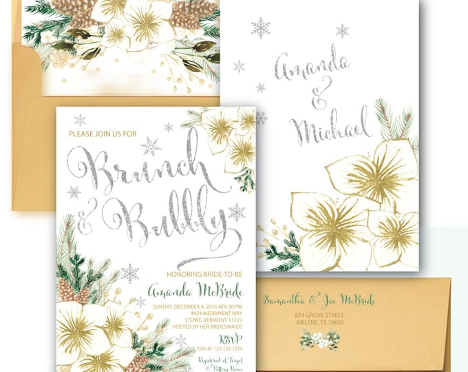 Winter Brunch and Bubbly Invitation // Holiday Bridal Shower Invitation // Christmas // Snowflakes // Silver // Gold // VERMONT COLLECTION
