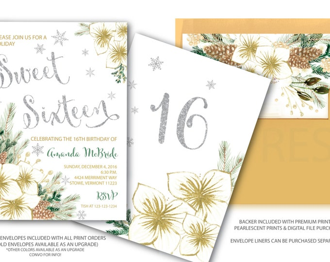 Sweet Sixteen Invitation // Winter Sweet Sixteen // Holiday Sweet Sixteen // Snowflakes //  16 // Silver // Gold // VERMONT COLLECTION