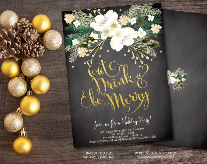 Christmas Party Invitation Christmas Party Invite Chalkboard Printable Faux Gold Foil Glitter Eat Drink Be Merry - Holiday Collection
