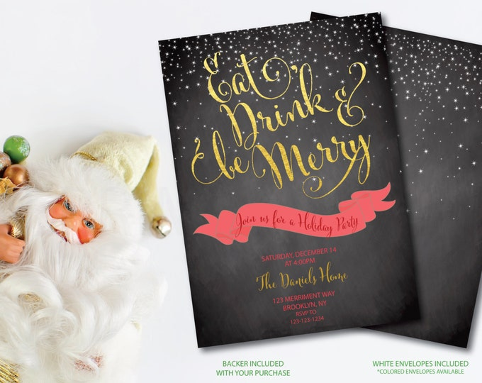 Christmas Party Invitation Christmas Party Invite Chalkboard Printable Red Faux Gold Foil Glitter Eat Drink Be Merry - Holiday Collection