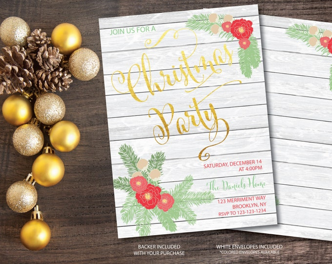 Christmas Party Invitation Christmas Party Invite Wood Printable Gold Foil Faux Glitter Holiday Party Invitation - Holiday Collection