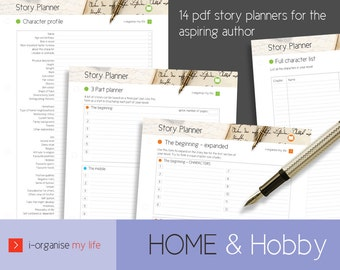 WRITER'S PLANNER, digital files, story planner, novel planner, A4 planner, US letter, writer's records, author planner, download and print,