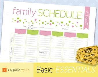 FAMILY SCHEDULE, family planner, family organiser, weekly planner, weekly organiser, weekly scheduler, downloadable, printable, activities