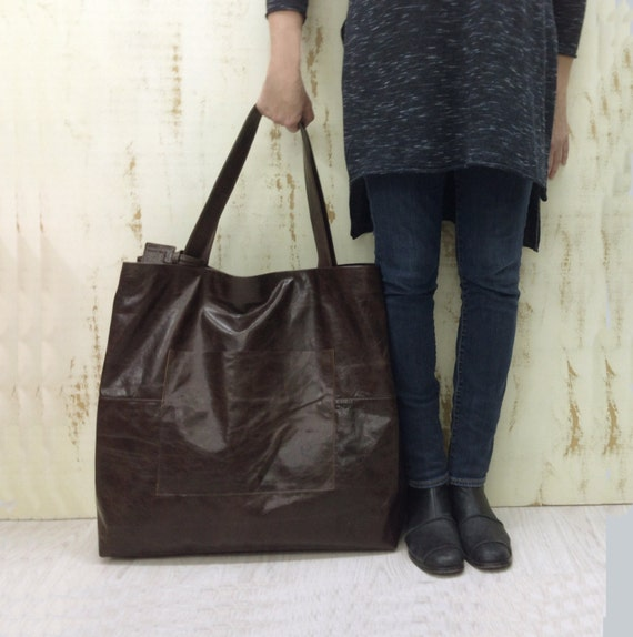 Sale Extra large Leather Travel Bag Oversized leather tote