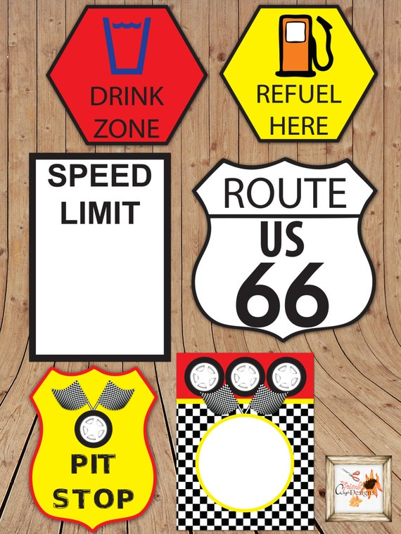 race car themed printable party road signs in microsoft word. Black Bedroom Furniture Sets. Home Design Ideas