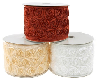 French Rosette Wired Ribbon, 4-inch, 5-yard